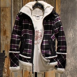Womens harley davidson plaid sherpa jacket